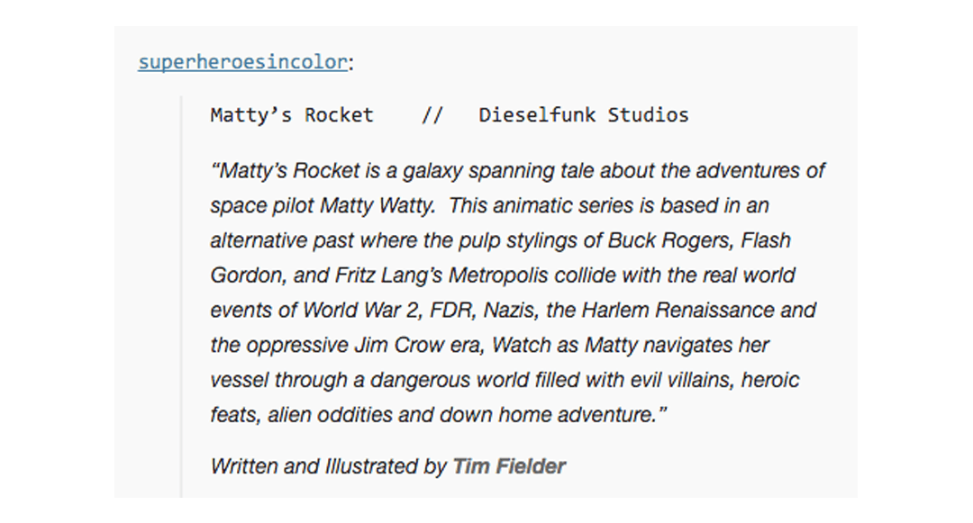 Matty's Rocket Listed in Super Heroes In Color Archive